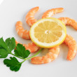 Stock Photo: Shrimps with lemon closeup