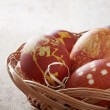 Easter eggs colored with onion skin — Stock Photo