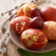 Stock Photo: Easter eggs colored with onion skin
