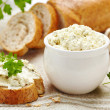Fresh cream cheese and bread — Stock Photo