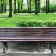 Wooden bench in old park — Stock Photo