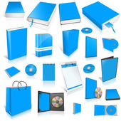 Pale blue 3d blank cover collection. — Stock Photo
