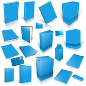 Pale blue 3d blank cover collection — Stock Photo