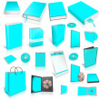 Cyan 3d blank cover collection — Stock Photo