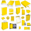 Yellow 3d blank cover collection — Stock Photo #10647886