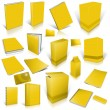 Yellow 3d blank cover collection — Stock Photo
