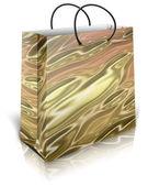 Zlatá dárková taška — Stock fotografie