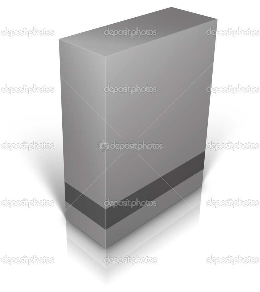 Grey blank box isolated on white background ready to be personalized by you.  Foto Stock #8403760
