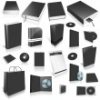 Black 3d blank cover collection — Stock Photo
