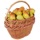 Pears in a basket on white — Stock Photo