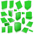 Green 3d blank cover collection — Stock Photo