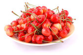 Red cherries on a plate — Foto Stock