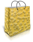 Gold gift bag — Stock Photo