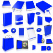 Blue 3d blank cover collection — Stock Photo #9555474