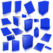 Blue 3d blank cover collection — Stock Photo