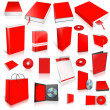 Red 3d blank cover collection — Stock fotografie