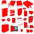 Red 3d blank cover collection — Stok fotoğraf