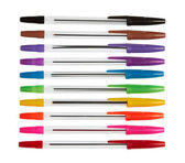 Set of color plastic ball-point pens — Stock Photo