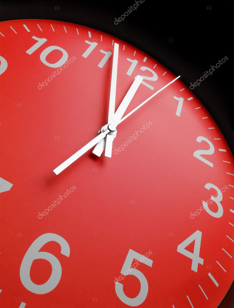 Red clock face, close up  Stock Photo #8784049