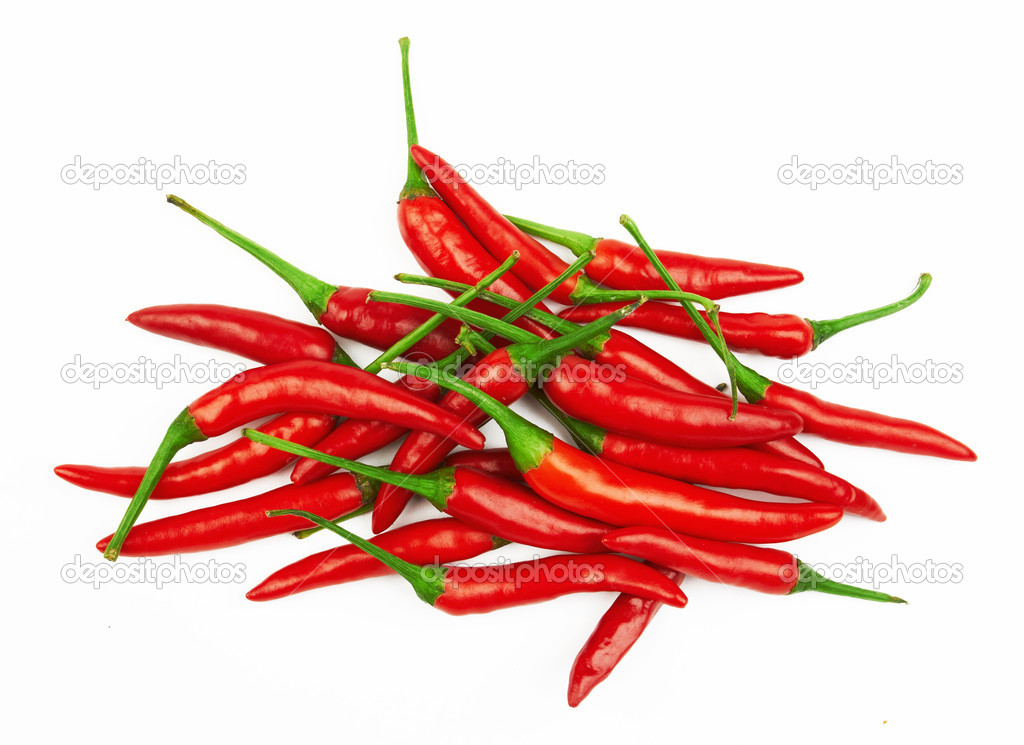 Red hot chili peppers on a white background — Stock Photo #9699662
