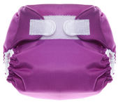 Eco Friendly Purple Cloth Diaper with Hook and Loop Closure — Stock Photo