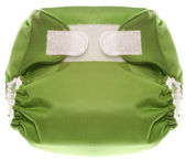 Eco Friendly Green Cloth Diaper with Hook and Loop Closure — Stock Photo