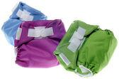 Eco freundliche stoffwindeln in grün, lila und blau — Stockfoto