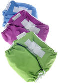 Eco Friendly Cloth Diapers in Green, Purple and Blue — Stock Photo