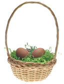 Easter Basket with Two Brown Eggs — Stock Photo