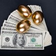 Golden eggs. A symbol of making money and successful investment — Stock Photo