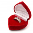 Classic silver ring in red box isolated on a white — Stock Photo #8008336