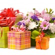 Magnificent bouquet and present boxes on a white - Stock Photo
