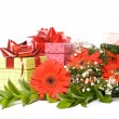 Magnificent bouquet gerbera and present boxes on a white — Foto de Stock