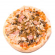 Pizza with pork and a hen, golden onions, mushrooms — Stock Photo
