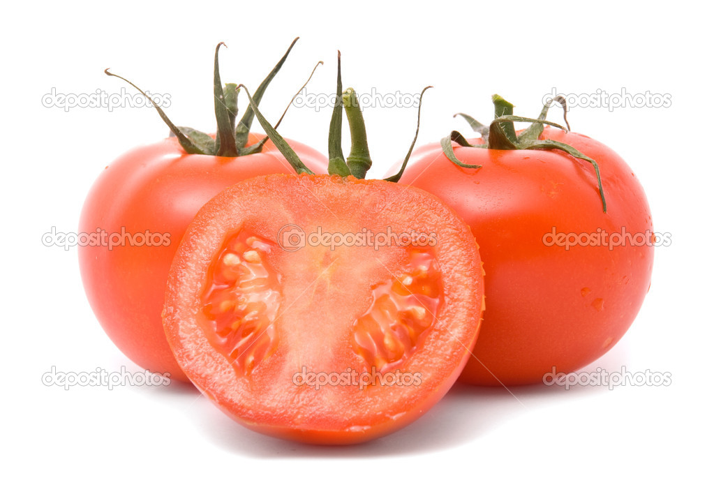 Fresh tomatoes isolated on white. — Stock Photo #8068831