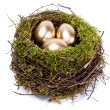 Royalty-Free Stock Photo: Three golden eggs in the nest isolated on white background