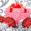 Christmas gift box with christmas balls. Small depth of field - 