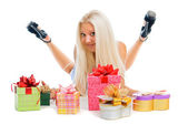 Beautiful sexy blond woman with present boxes on white backgroun — Stock Photo