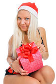 Sexy young blond woman wearing a corset and a Santa's hat with C — Foto de Stock