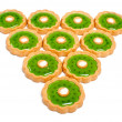 Beautiful green cookies background - Stock Photo