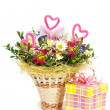 Beautiful bouquet in the basket and present box on a white backg - Stock Photo