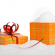 Stock Photo: Christmas gift box in snow