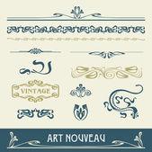 Conjunto de vectores art nouveau - un montón de elementos útiles para embellecer su diseño — Vector de stock