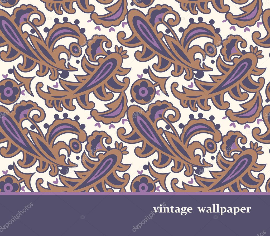 Seamless retro wallpaper  Stock Vector #9942288