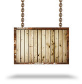 Plank wooden signboard. Chain. — Stock Photo