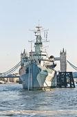 HMS Belfast warship at London, England — Stock Photo