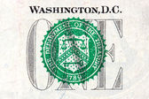 Detail of one dollar bill — Stock Photo