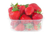 Punnet of strawberries isolated on white — Stock Photo