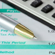 Royalty-Free Stock Photo: Pen,calculator and payslip