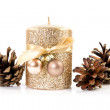 Christmas  candle  and cones - Foto Stock